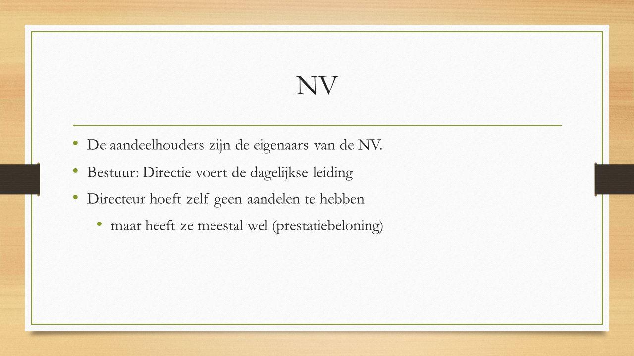 NV De aandeelhouders zijn de eigenaars van de NV.