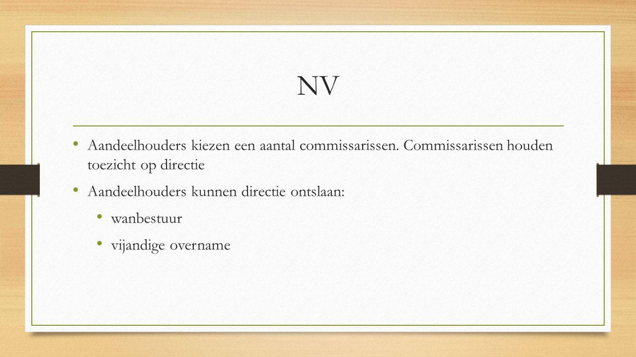 NV Aandeelhouders kiezen een aantal commissarissen. Commissarissen houden toezicht op directie. Aandeelhouders kunnen directie ontslaan: