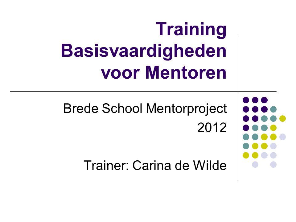 Training Basisvaardigheden voor Mentoren