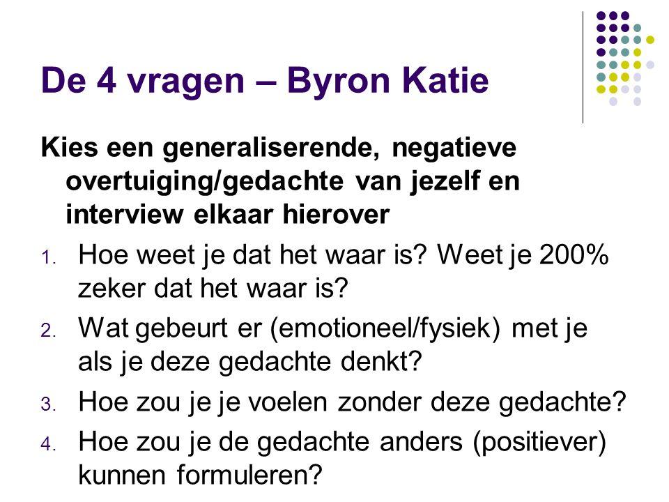 De 4 vragen – Byron Katie Kies een generaliserende, negatieve overtuiging/gedachte van jezelf en interview elkaar hierover.