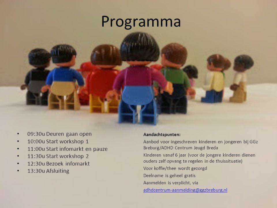 Programma 09:30u Deuren gaan open 10:00u Start workshop 1
