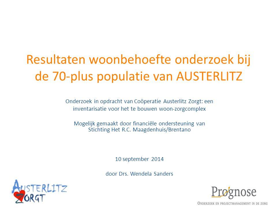 Resultaten woonbehoefte onderzoek bij de 70-plus populatie van AUSTERLITZ