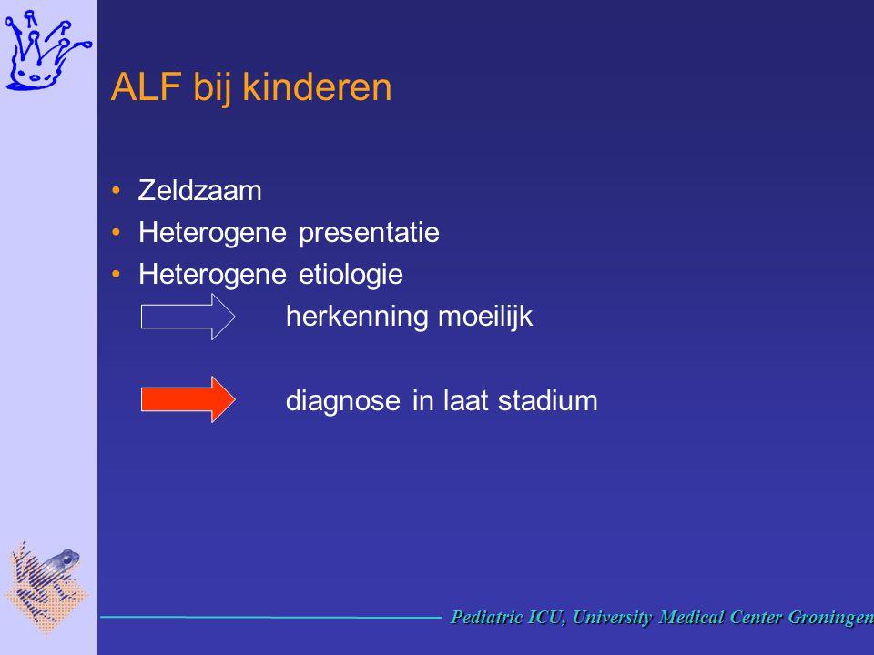 ALF bij kinderen Zeldzaam Heterogene presentatie Heterogene etiologie