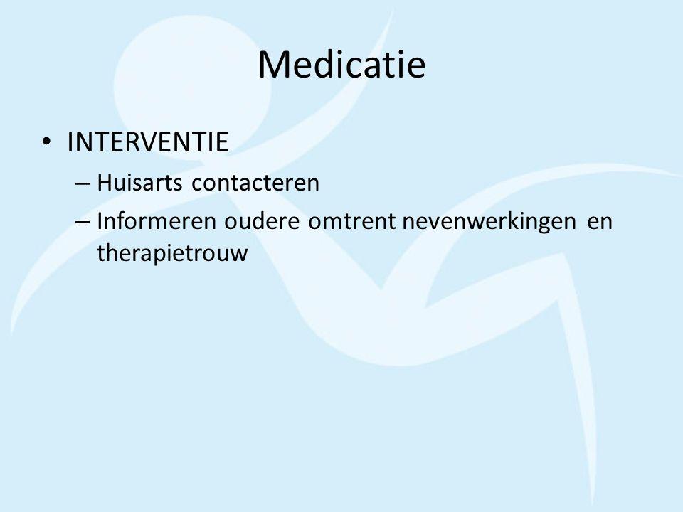 Medicatie INTERVENTIE Huisarts contacteren