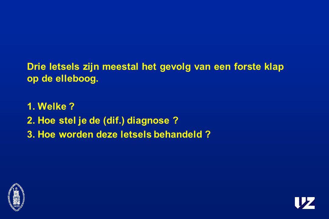 Drie letsels zijn meestal het gevolg van een forste klap op de elleboog.