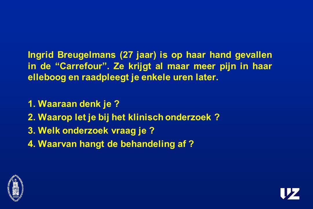 Ingrid Breugelmans (27 jaar) is op haar hand gevallen in de Carrefour . Ze krijgt al maar meer pijn in haar elleboog en raadpleegt je enkele uren later.