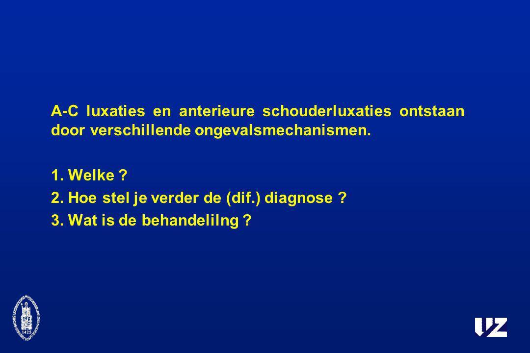 A-C luxaties en anterieure schouderluxaties ontstaan door verschillende ongevalsmechanismen.