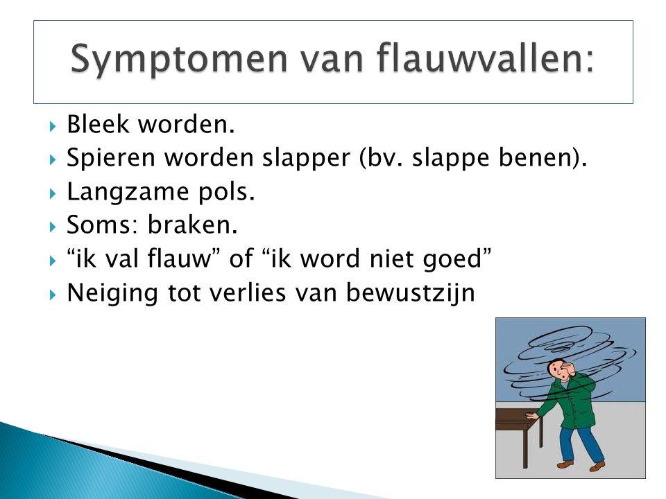 Symptomen van flauwvallen: