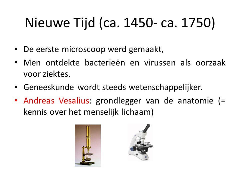 Nieuwe Tijd (ca. 1450- ca. 1750) De eerste microscoop werd gemaakt,