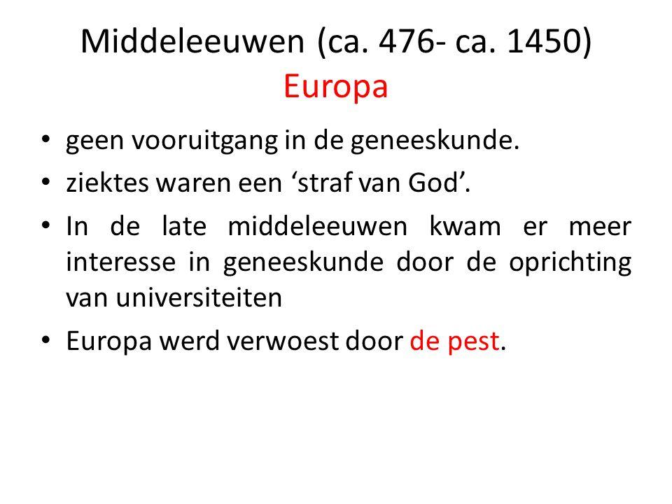 Middeleeuwen (ca. 476- ca. 1450) Europa