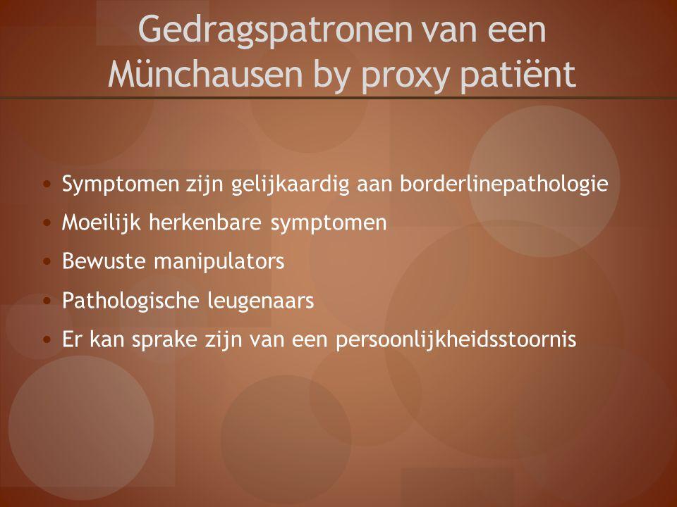 Gedragspatronen van een Münchausen by proxy patiënt