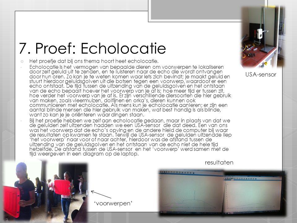 7. Proef: Echolocatie USA-sensor resultaten 'voorwerpen'