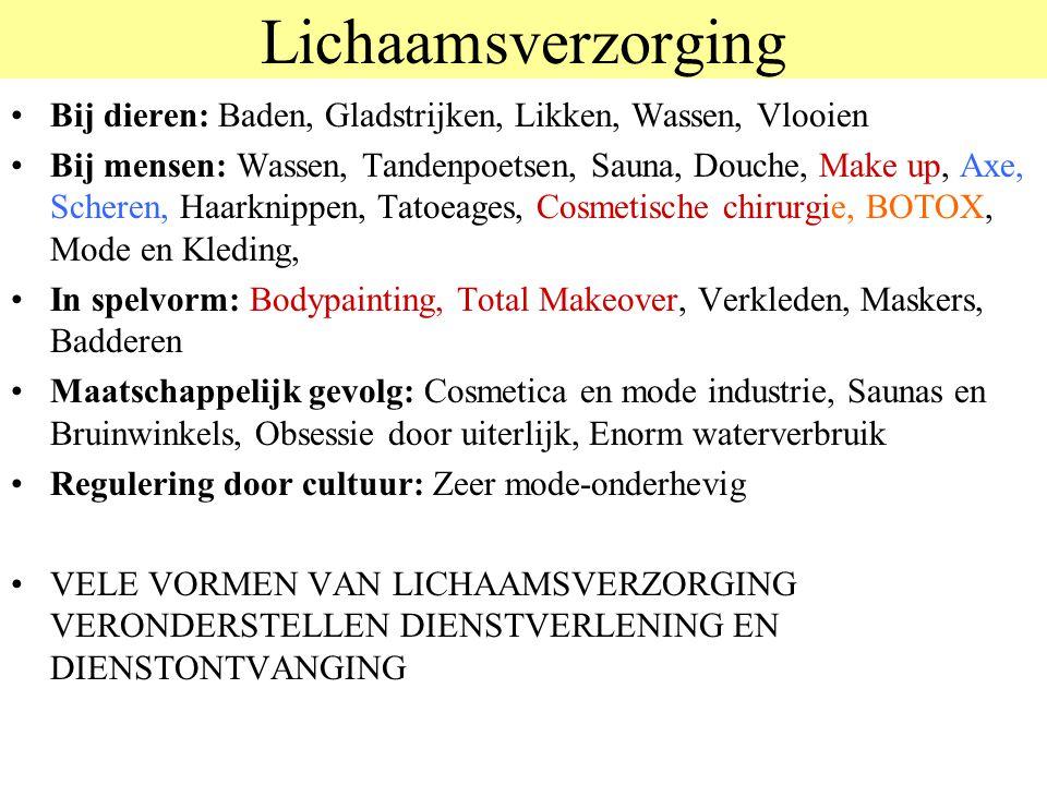 Lichaamsverzorging © 2012 JP van de Sande RuG. Bij dieren: Baden, Gladstrijken, Likken, Wassen, Vlooien.