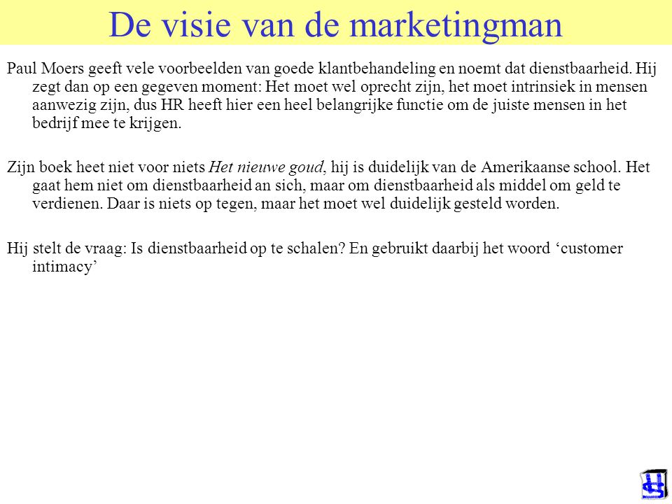 De visie van de marketingman