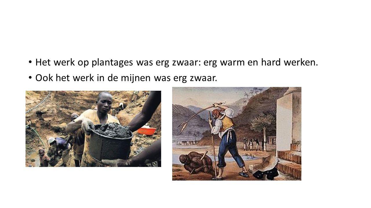 Het werk op plantages was erg zwaar: erg warm en hard werken.