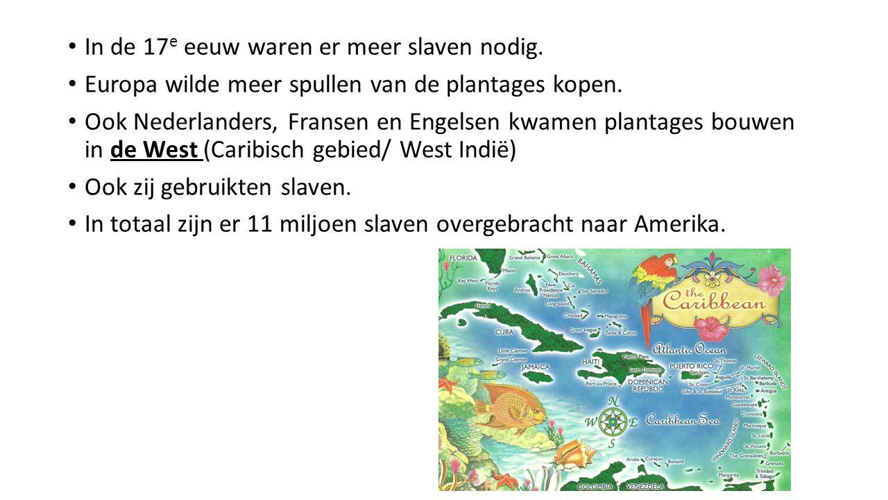 In de 17e eeuw waren er meer slaven nodig.