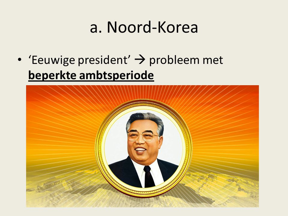 a. Noord-Korea 'Eeuwige president'  probleem met beperkte ambtsperiode