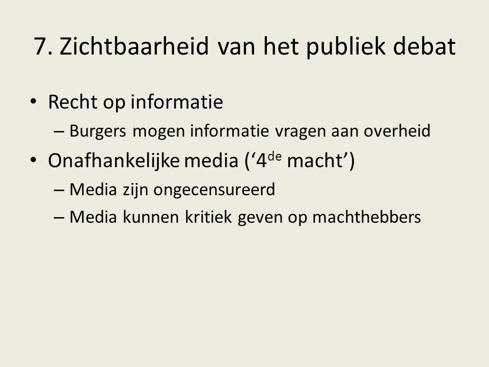 7. Zichtbaarheid van het publiek debat