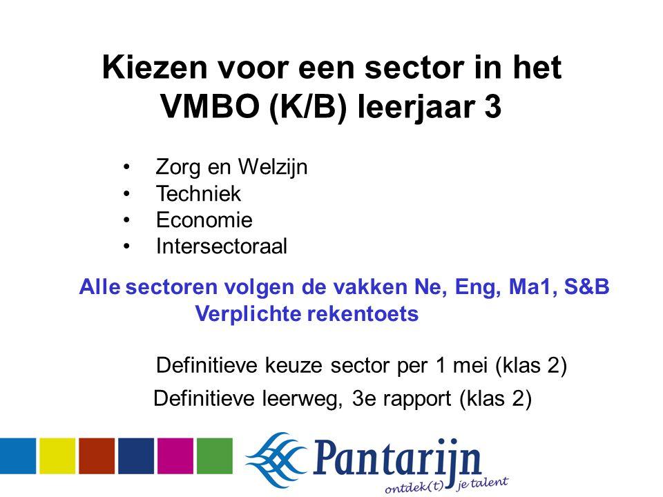 Kiezen voor een sector in het VMBO (K/B) leerjaar 3