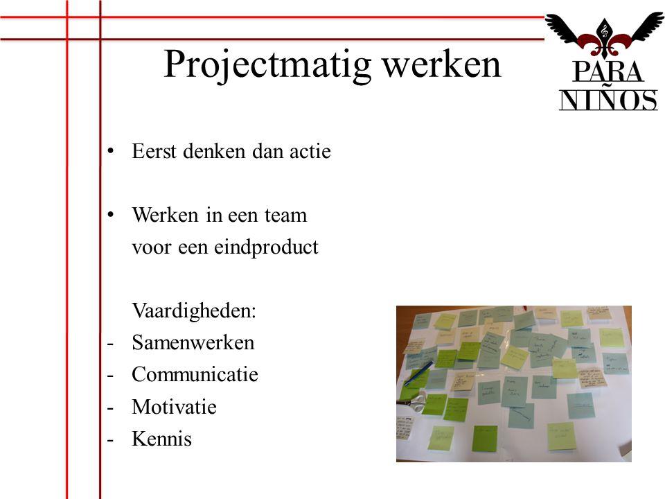 Projectmatig werken Eerst denken dan actie Werken in een team