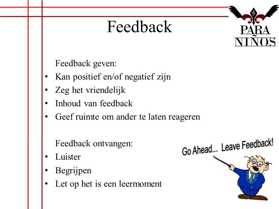 Feedback Feedback geven: Kan positief en/of negatief zijn