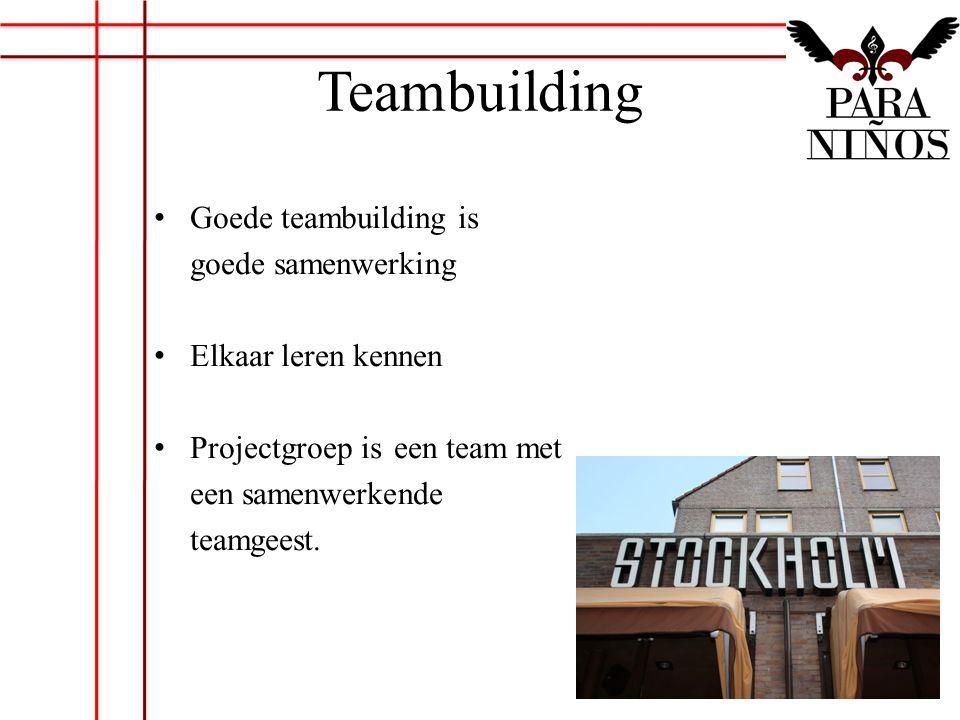 Teambuilding Goede teambuilding is goede samenwerking