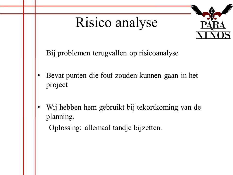 Risico analyse Bij problemen terugvallen op risicoanalyse