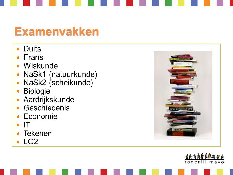 Examenvakken Duits Frans Wiskunde NaSk1 (natuurkunde)