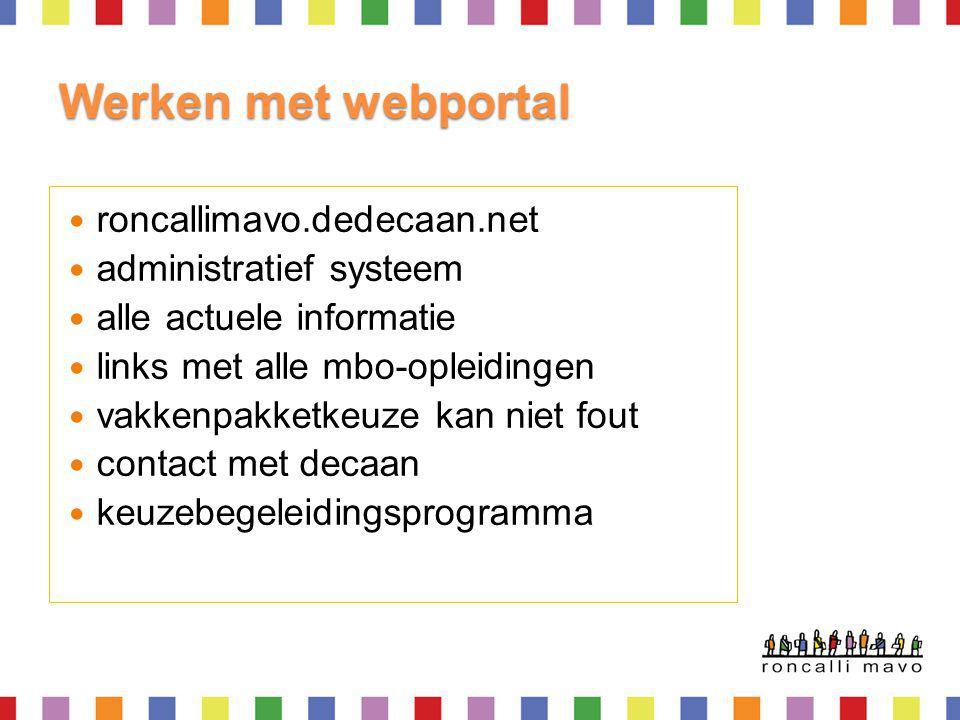 Werken met webportal roncallimavo.dedecaan.net administratief systeem