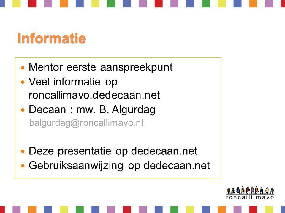 Informatie Mentor eerste aanspreekpunt