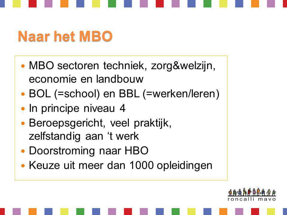Naar het MBO MBO sectoren techniek, zorg&welzijn, economie en landbouw