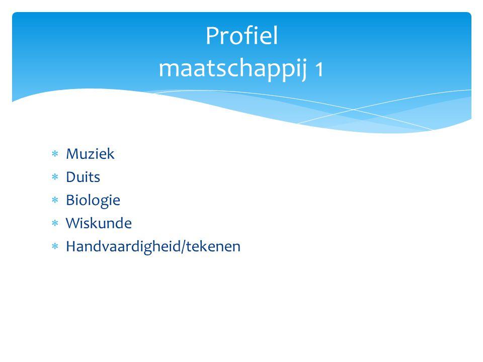 Profiel maatschappij 1 Muziek Duits Biologie Wiskunde