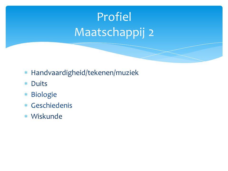Profiel Maatschappij 2 Handvaardigheid/tekenen/muziek Duits Biologie
