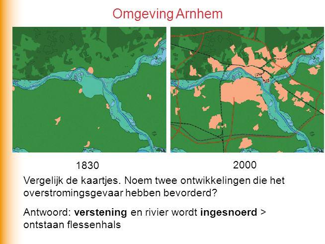 Omgeving Arnhem 1830. 2000. Vergelijk de kaartjes. Noem twee ontwikkelingen die het overstromingsgevaar hebben bevorderd