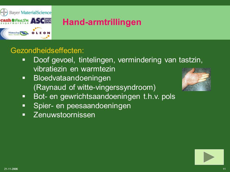 Hand-armtrillingen Gezondheidseffecten: