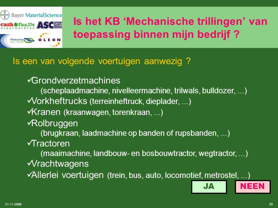 Is het KB 'Mechanische trillingen' van toepassing binnen mijn bedrijf