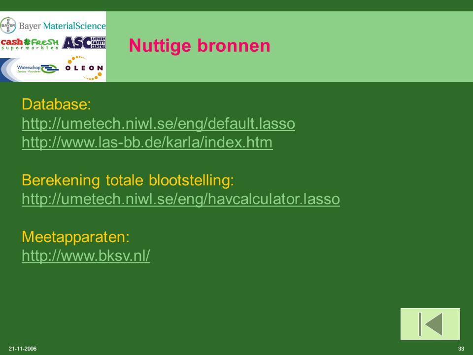 Nuttige bronnen Database: http://umetech.niwl.se/eng/default.lasso