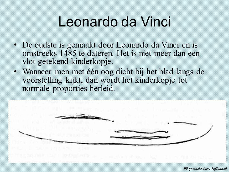 Leonardo da Vinci De oudste is gemaakt door Leonardo da Vinci en is omstreeks 1485 te dateren. Het is niet meer dan een vlot getekend kinderkopje.