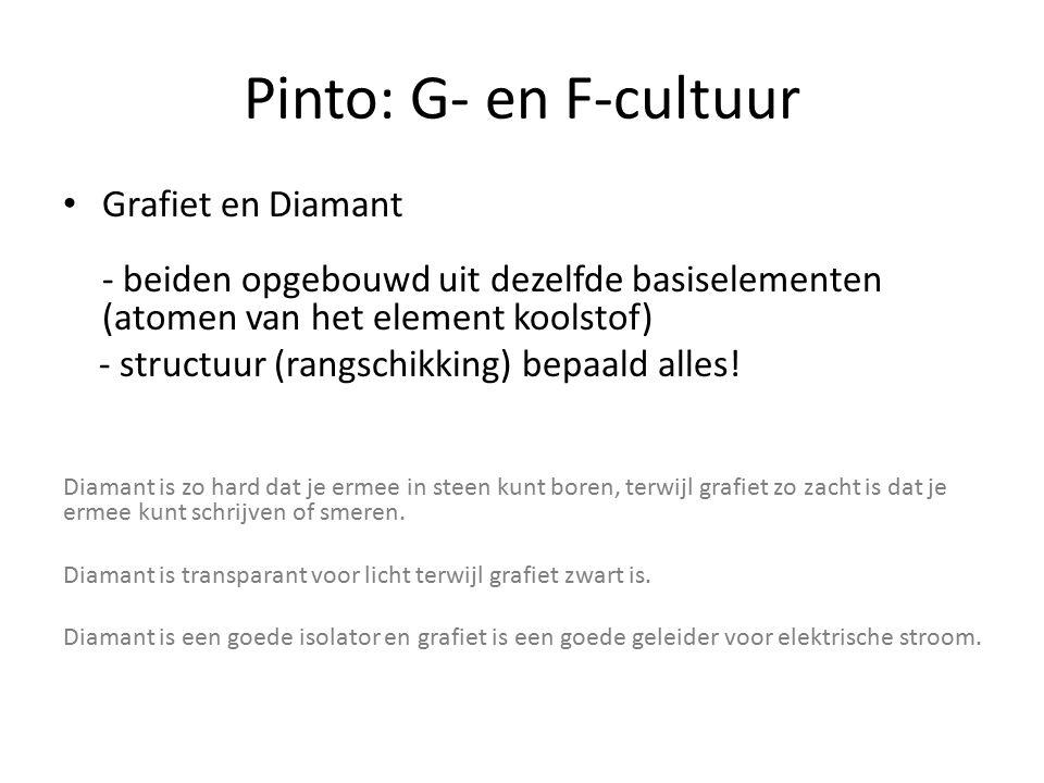 Pinto: G- en F-cultuur Grafiet en Diamant - beiden opgebouwd uit dezelfde basiselementen (atomen van het element koolstof)