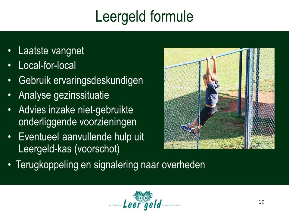 Leergeld formule Laatste vangnet Local-for-local