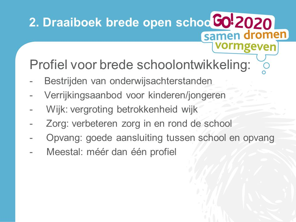 2. Draaiboek brede open school