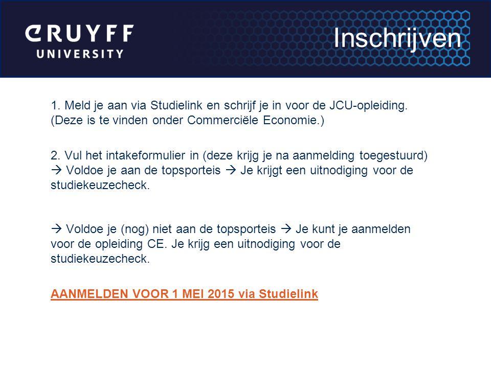 Inschrijven 1. Meld je aan via Studielink en schrijf je in voor de JCU-opleiding. (Deze is te vinden onder Commerciële Economie.)