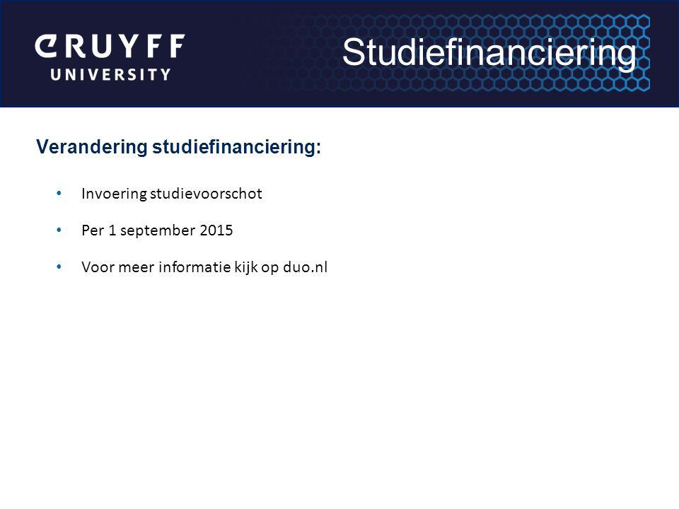 Studiefinanciering Verandering studiefinanciering: