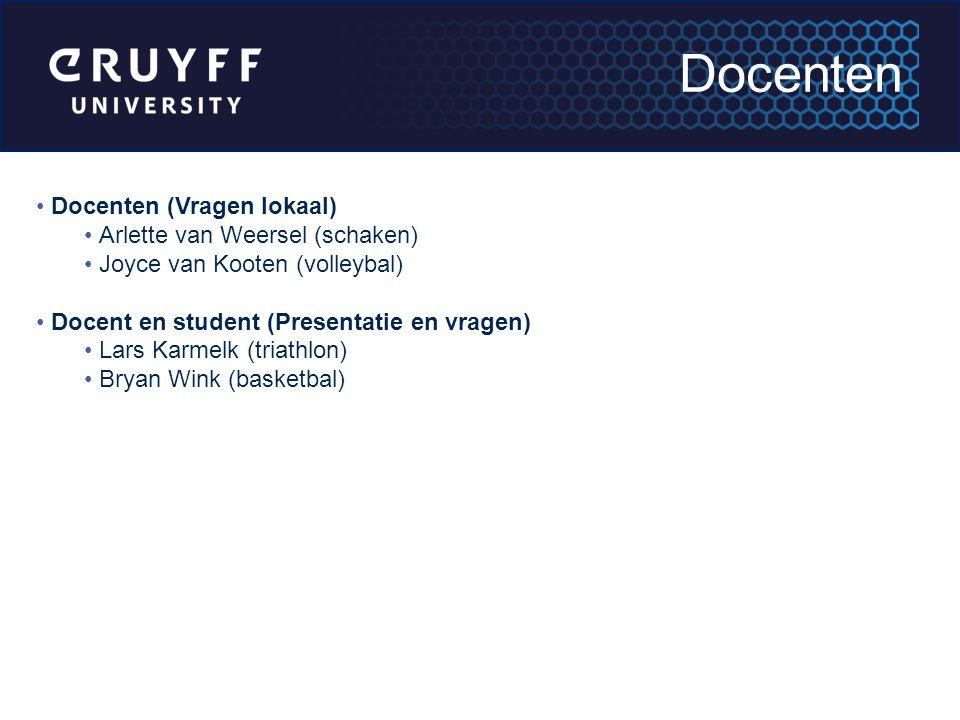 Docenten Docenten (Vragen lokaal) Arlette van Weersel (schaken)
