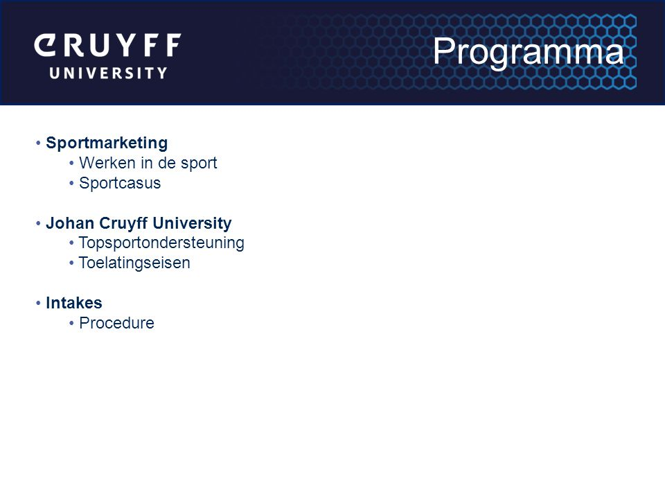 Programma Sportmarketing Werken in de sport Sportcasus