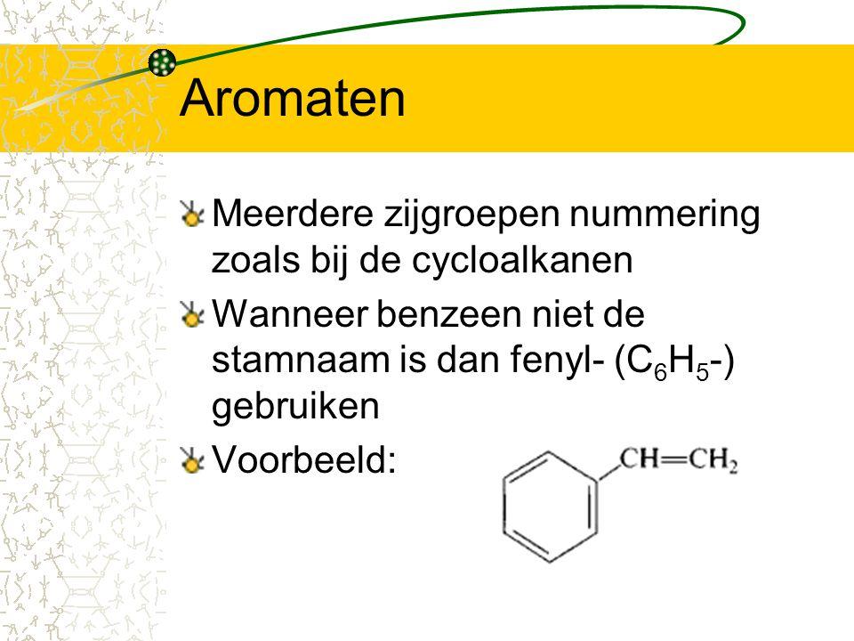 Aromaten Meerdere zijgroepen nummering zoals bij de cycloalkanen