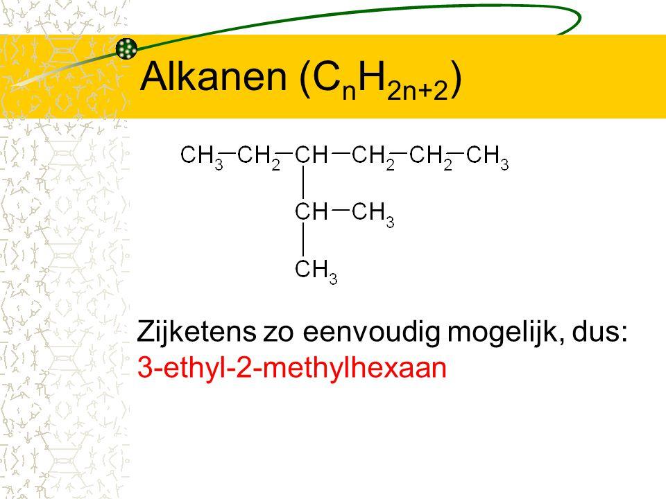 Alkanen (CnH2n+2) Zijketens zo eenvoudig mogelijk, dus: