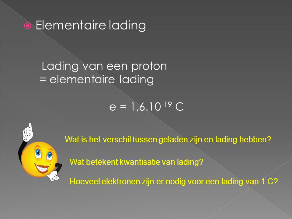 Elementaire lading e = 1,6.10-19 C