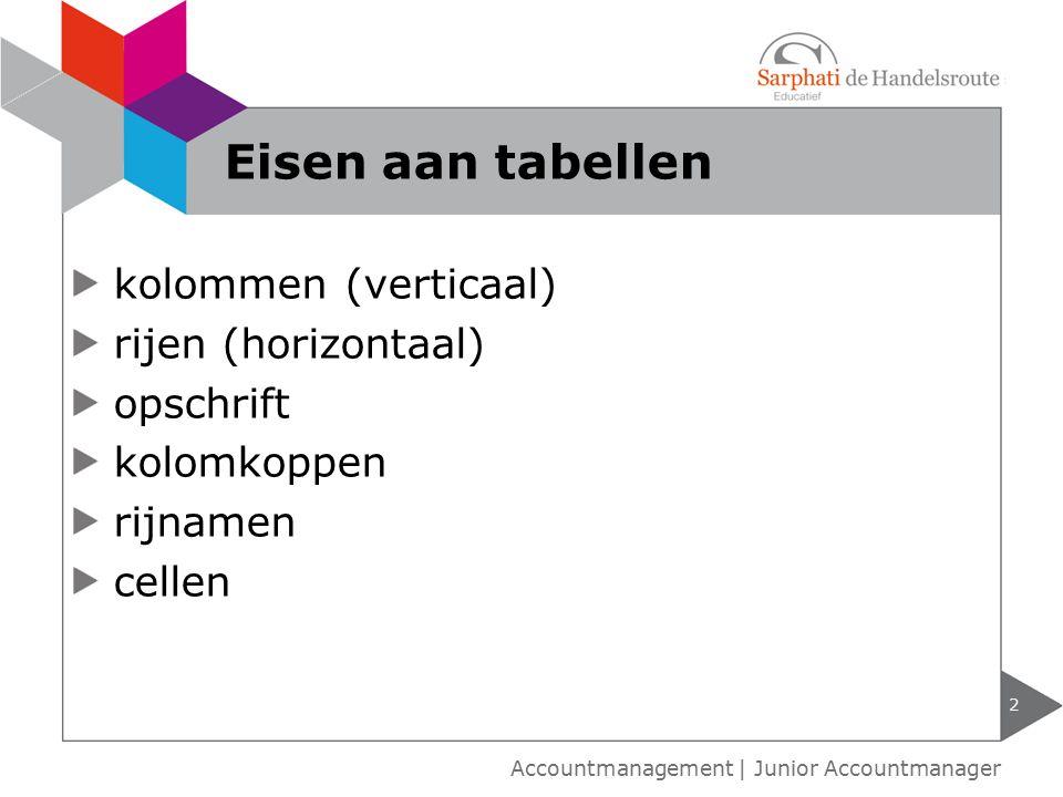 Eisen aan tabellen kolommen (verticaal) rijen (horizontaal) opschrift