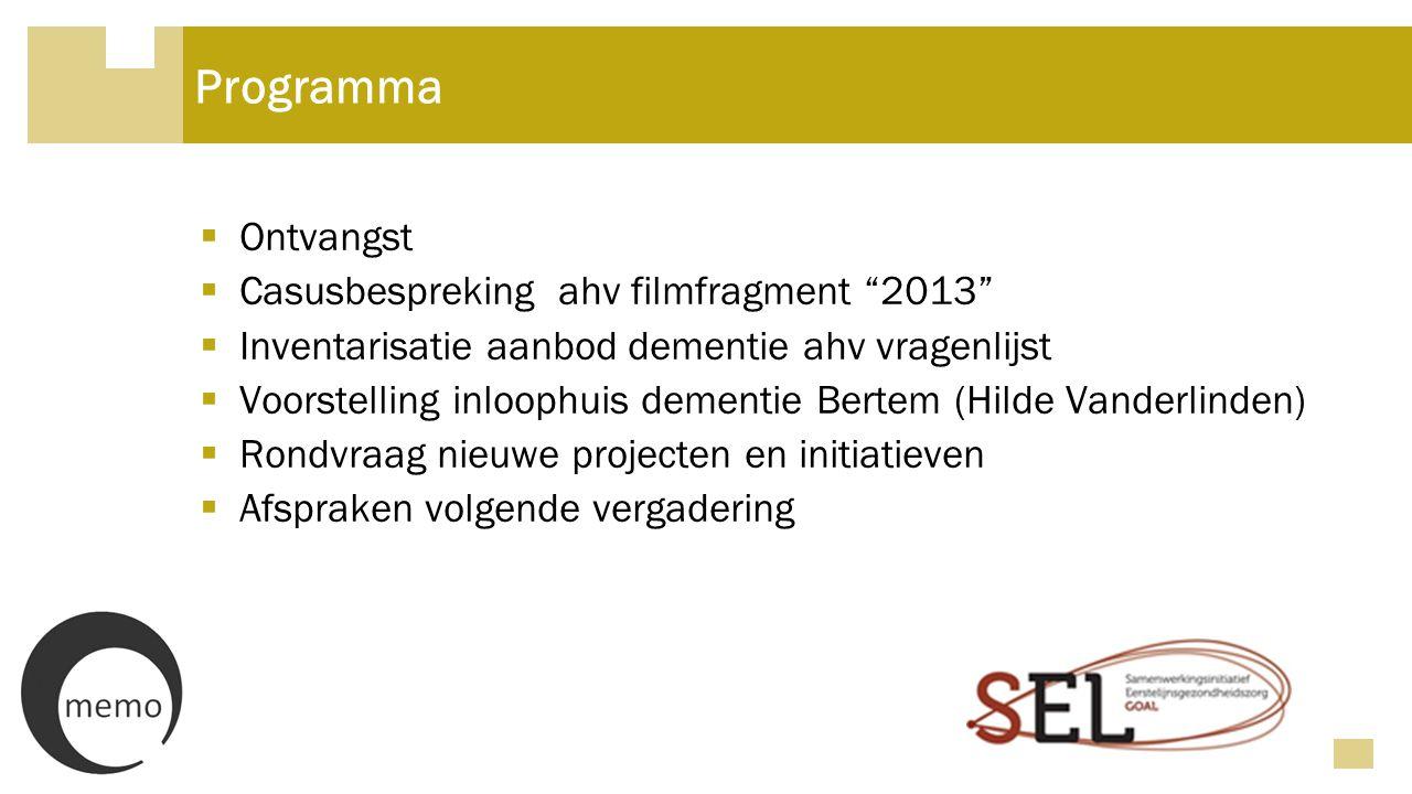 Programma Ontvangst Casusbespreking ahv filmfragment 2013